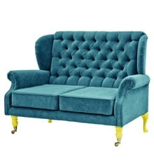 Rice - 2 Seater Velvet Sofa - Petrol w. Yellow Legs