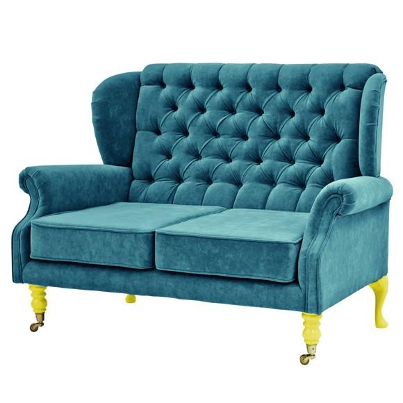 Rice - 2 Seater Velvet Sofa - Petrol w. Yellow Legs