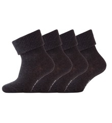 Melton - Baby Sock One colored - 4-pack - Dark grey (600140-180)