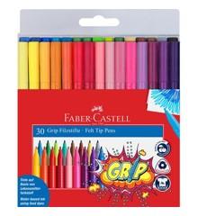 Faber-Castell - Fibre-tip tusser Grip Colour sæt, 30 stk (155335)