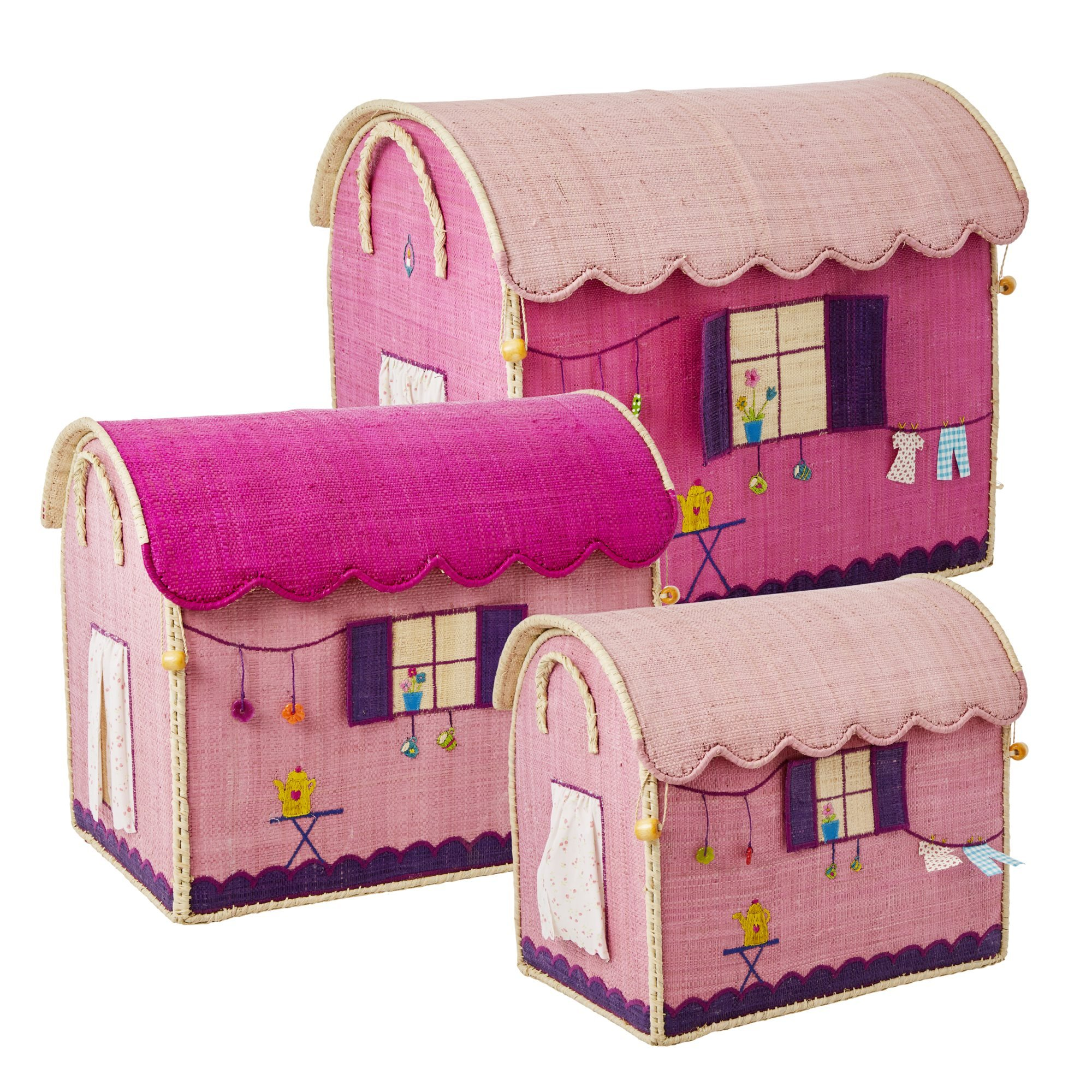 Rice Large Set of 3 Toy Baskets Caravan Theme