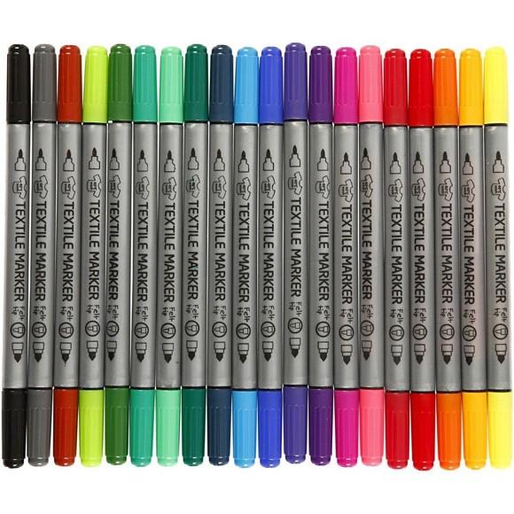 Tekstiltusj - Standardfarger - 20 stk.
