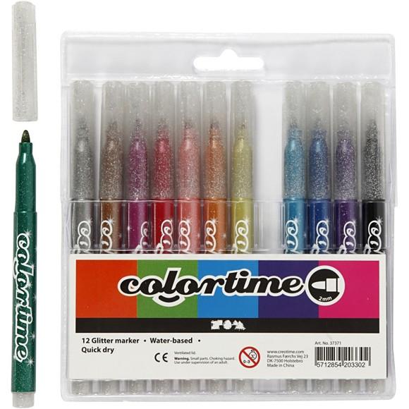 Colortime - Tusj 4,2 mm - Glitter - 12 stk.