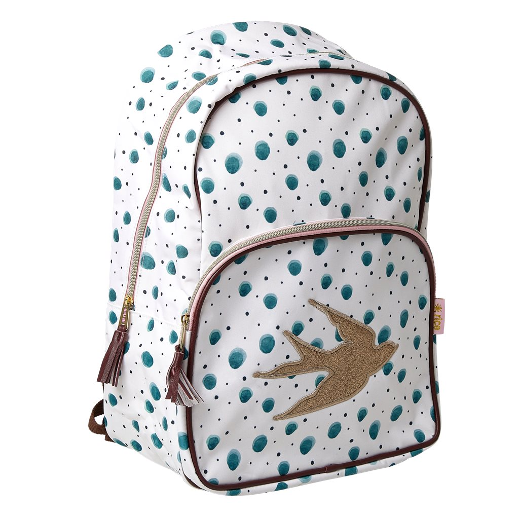 Rice - Backpack with Watercolor Splash Print - Soft Pink Piping