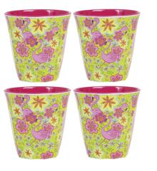 Rice - Medium Melamine Cups w. Print 4 Pcs.