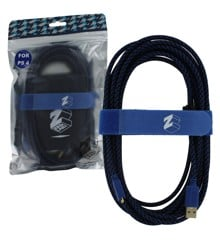 ZedLabz Ultra 5m gold plated braided charging cable for Sony PS4 controller inc velcro tidy & bag