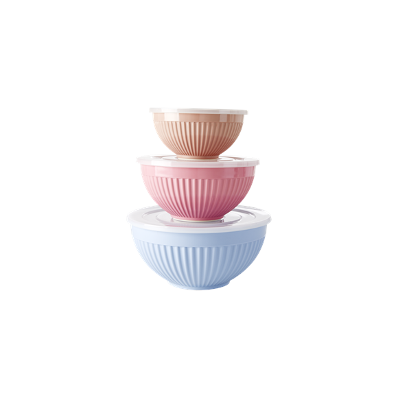 Rice - Melamine Bowls with Lid 3 pcs - LBC