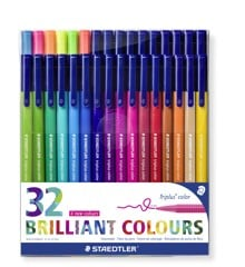 Staedtler - Triplus brilliant colour tusser, 32 stk