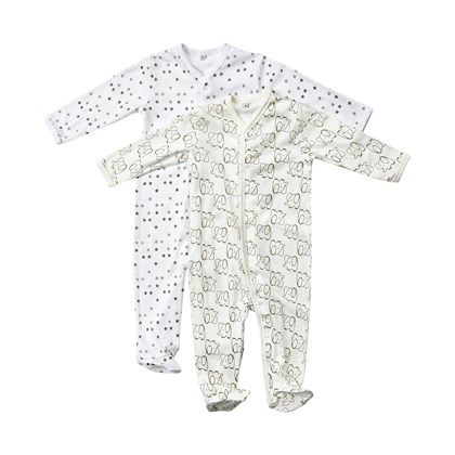 Pippi Baby Girls Nightsuit W//F Buttons 2 Pack Sleepsuit