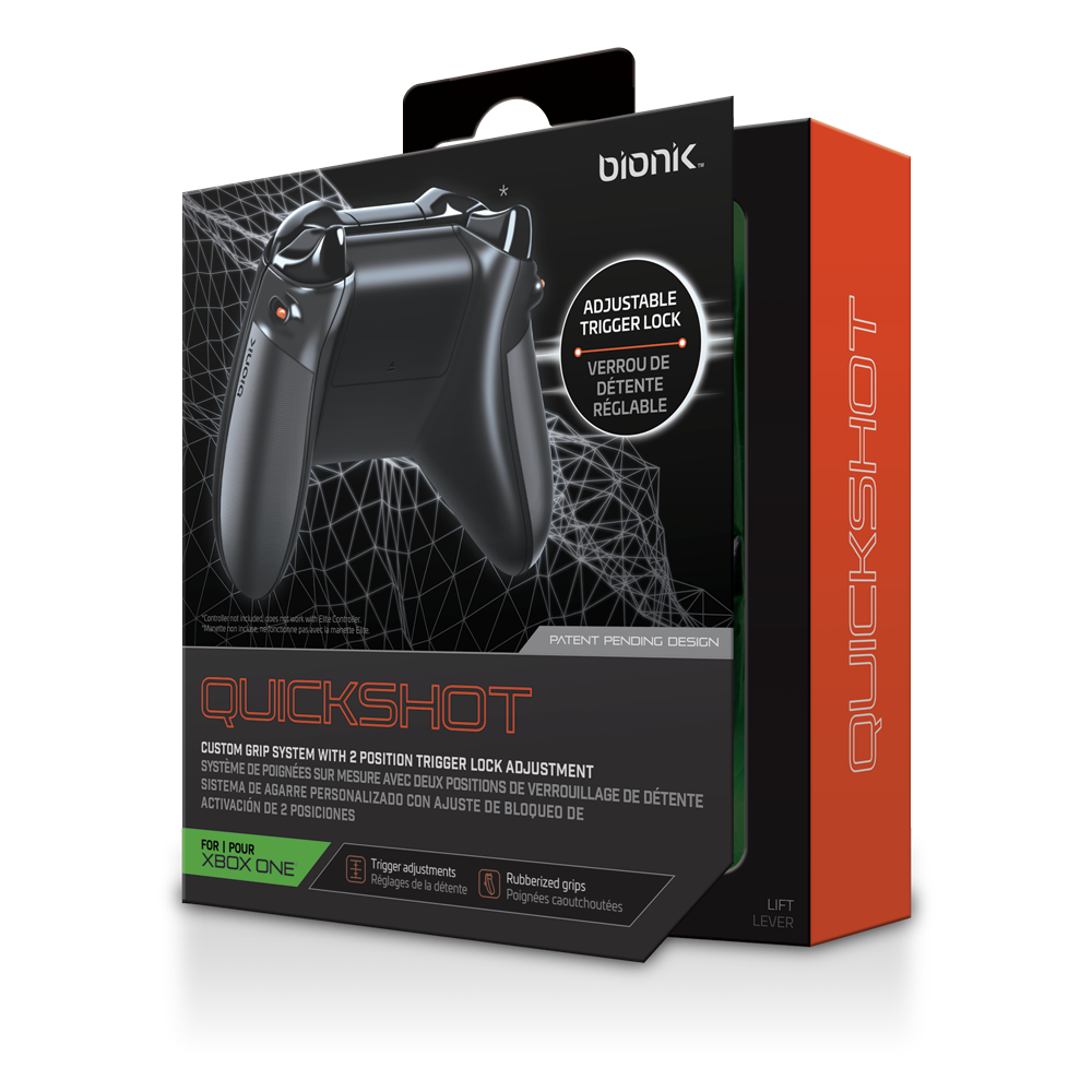 Bionik Quickshot Custom Rubber Grips with Dual Setting Trigger Lock (Xbox One)