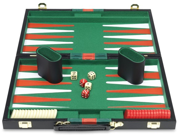 Backgammon in suitcase