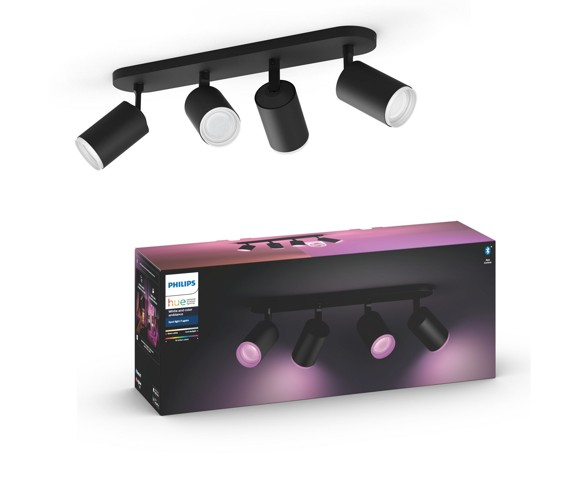 Philips Hue - Fugato 4-Spot  Black - White & Color Ambiance - Bluetooth