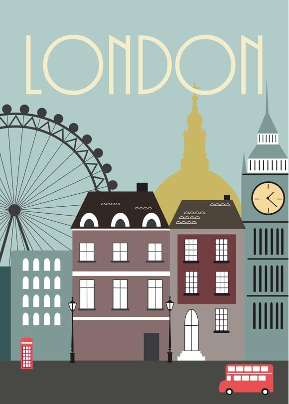 Hoei Denmark - Wonderful Capital 50 x 70 cm. - London