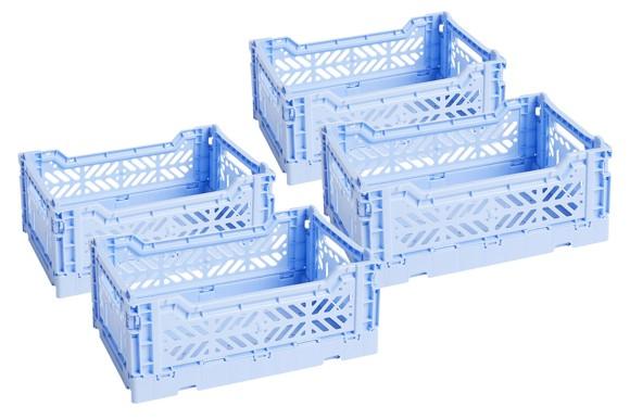 HAY - Colour Crate Kasse Sæt á 4 - Lyse Blå