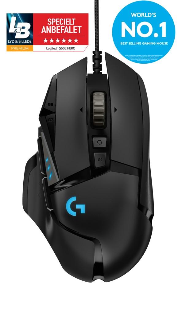 Logitech G502 Trådløs Lightspeed Sort Gamer Mus - NYHED