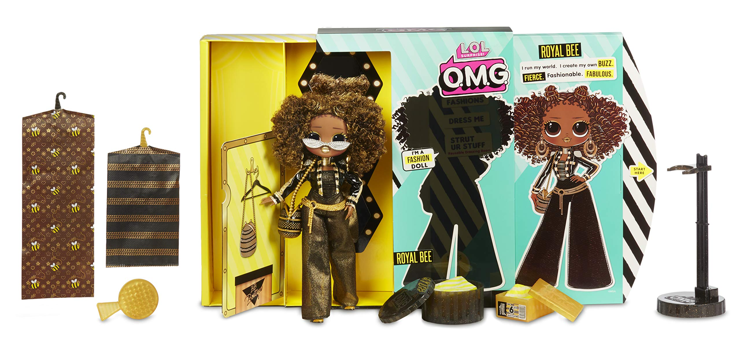 LOL OMG Fashion Doll SET Of 4  ~ 20 Surprises  ROYAL BEE Neonlicious SWAG Diva