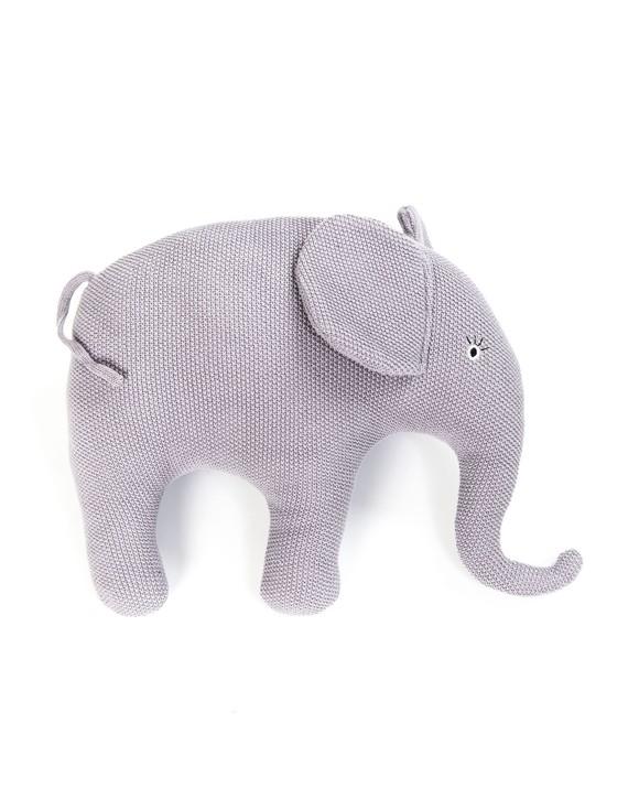 Smallstuff - Strikket Elefant Pude - Blue Rose