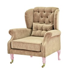 Rice - Velvet Wing Chair + Small Cushion - Beige w. Soft Pink Legs