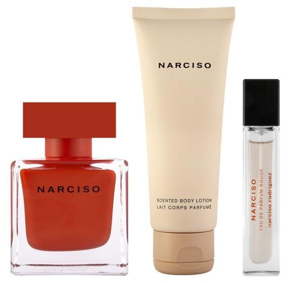 Narciso Rodrigues - Rouge EDP 90 ml + Bodylotion 75 ml + EDP 10 ml - Gavesæt