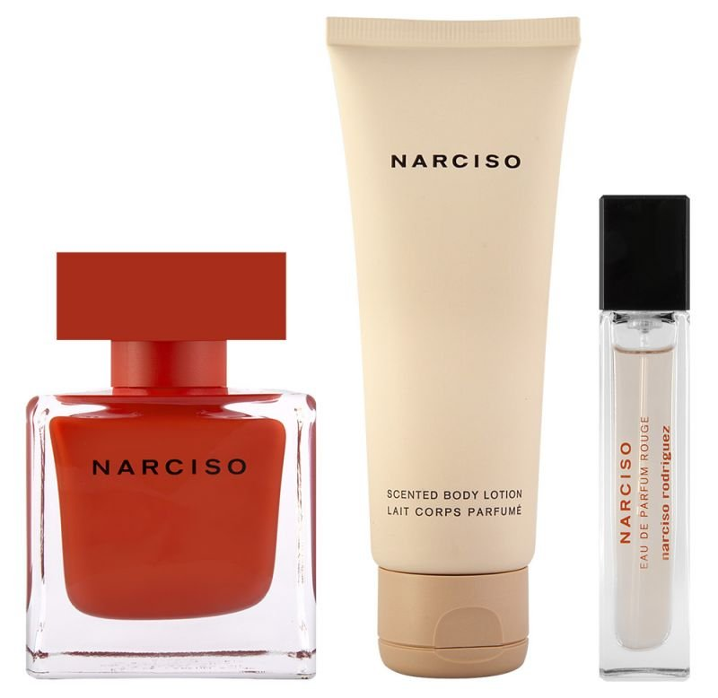 Narciso Rodrigues - Rouge EDP 90 ml + Bodylotion 75 ml + EDP 10 ml - Giftset
