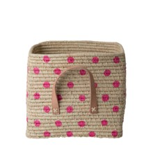 Rice - Raffia Square Basket with Leather Handles and Painted Dots - Fuchsia