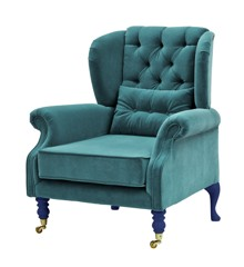 Rice - Velvet Wing Chair + Small Cushion - Petrol w. Dark Blue Legs
