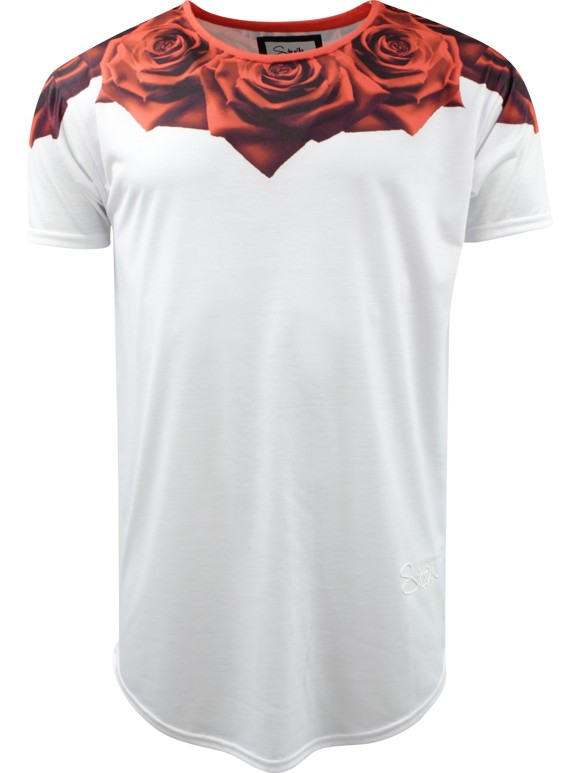 SikSilk 'Curved Rose' T-shirt - Hvid