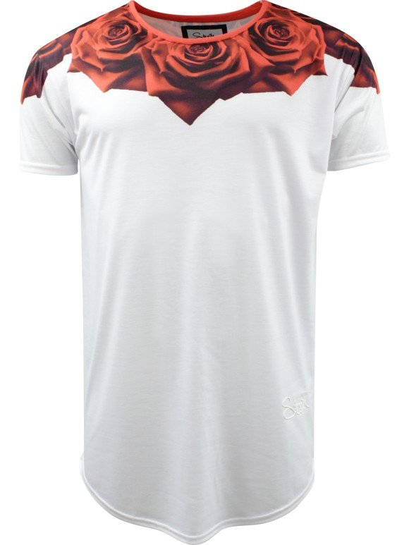 SikSilk 'Curved Rose' T-shirt - White