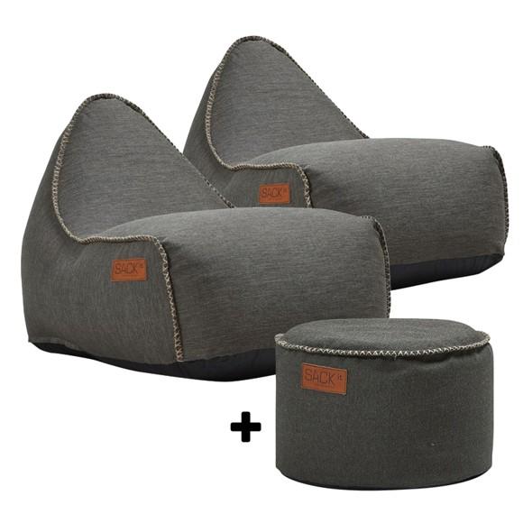 SACKit - 2 x RETROit Cobana + RETROit Cobana Drum Puf - Brun ( Kan bruges udendørs )