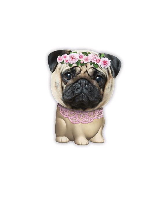 Squishies - Large - Hund med Blomsterkrans