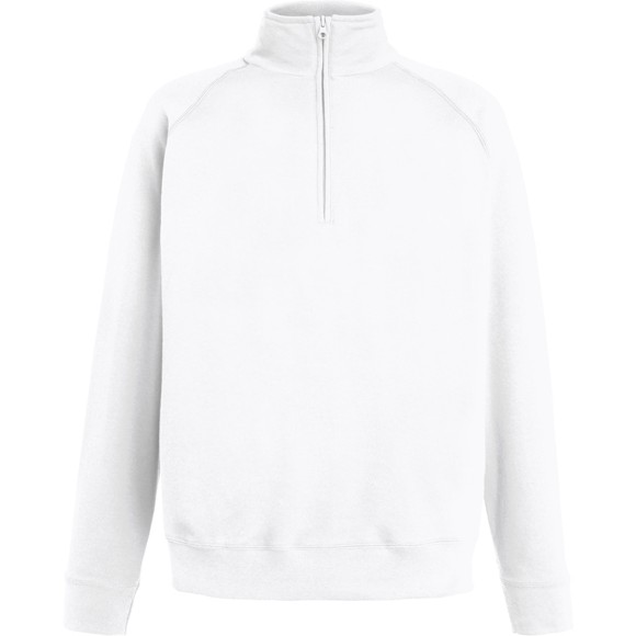 Fruit Of The Loom Mens Lightweight Half Zip Neck Sweatshirt White