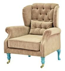 Rice - Velvet Wing Chair + Small Cushion - Beige w. Mint Legs