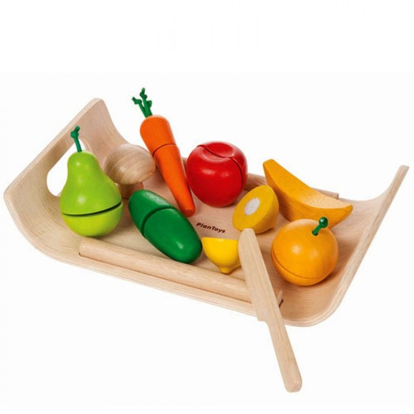 Plantoys - Wooden Fruits and Vegetables with Tray (3416)