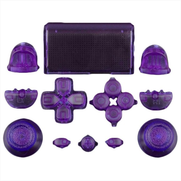 ZedLabz full replacement button set mod kit for 1st gen Sony PS4 controllers - transparent purple
