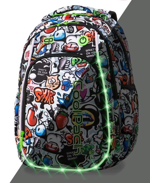 Coolpack - Skoletaske med LED-belysning - Grafitti