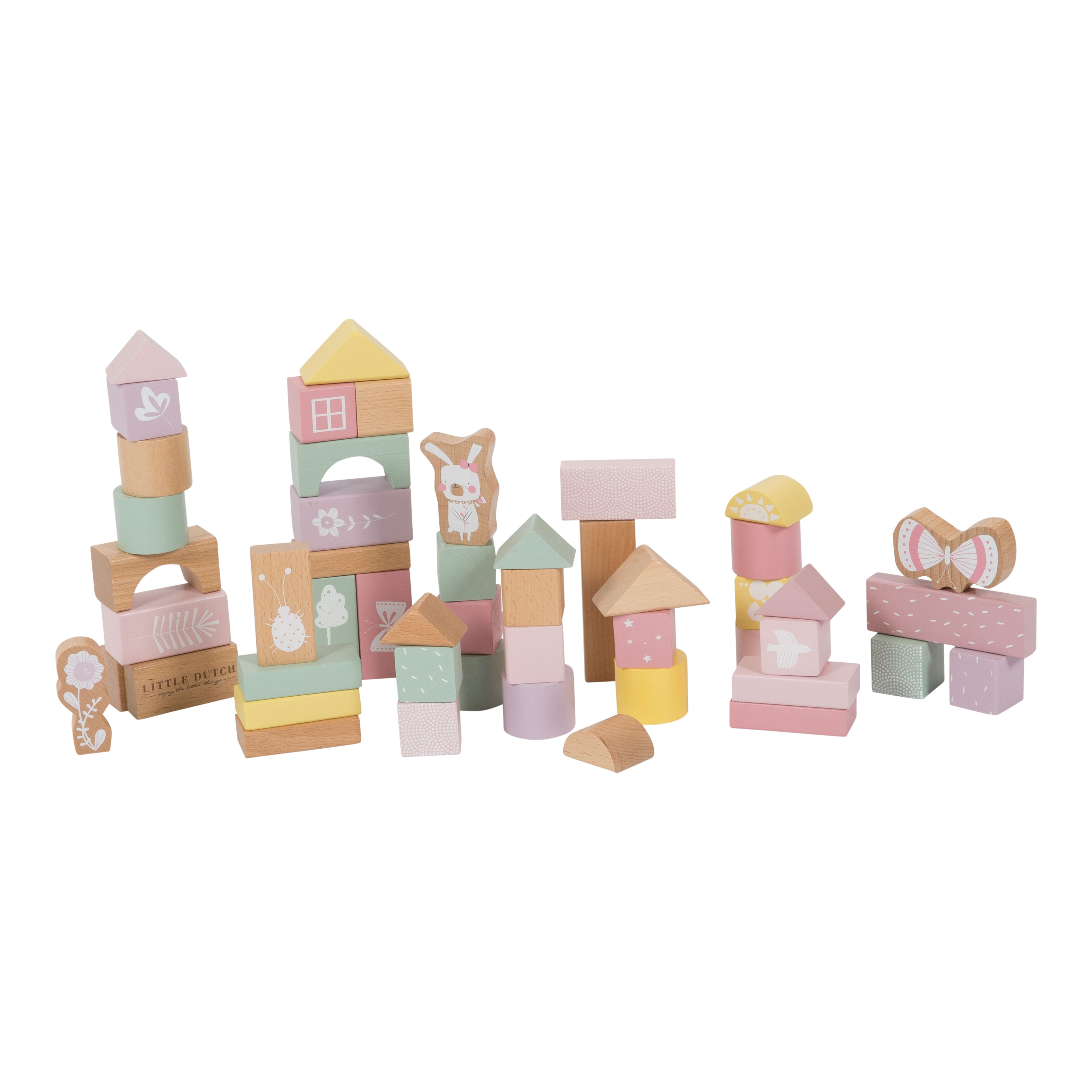Little Dutch - Pink Holzbausteine in Box, 50 teile (LDW4412)