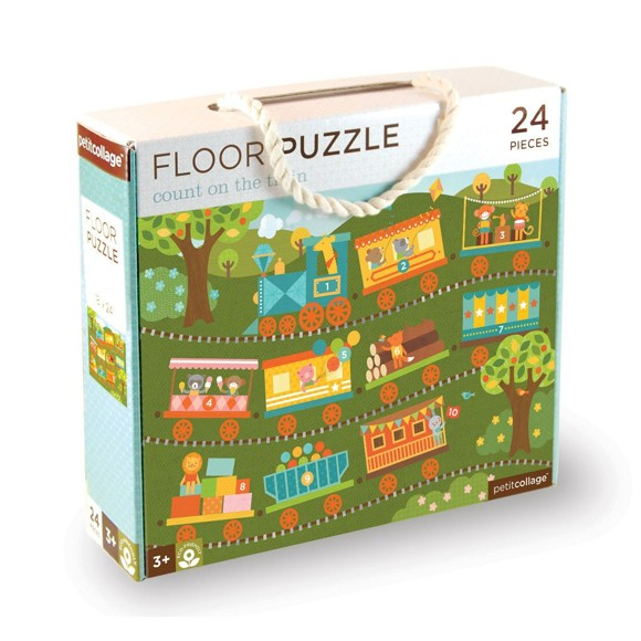 Petit Collage - Floor puzzle - Count on the train, 24 pcs