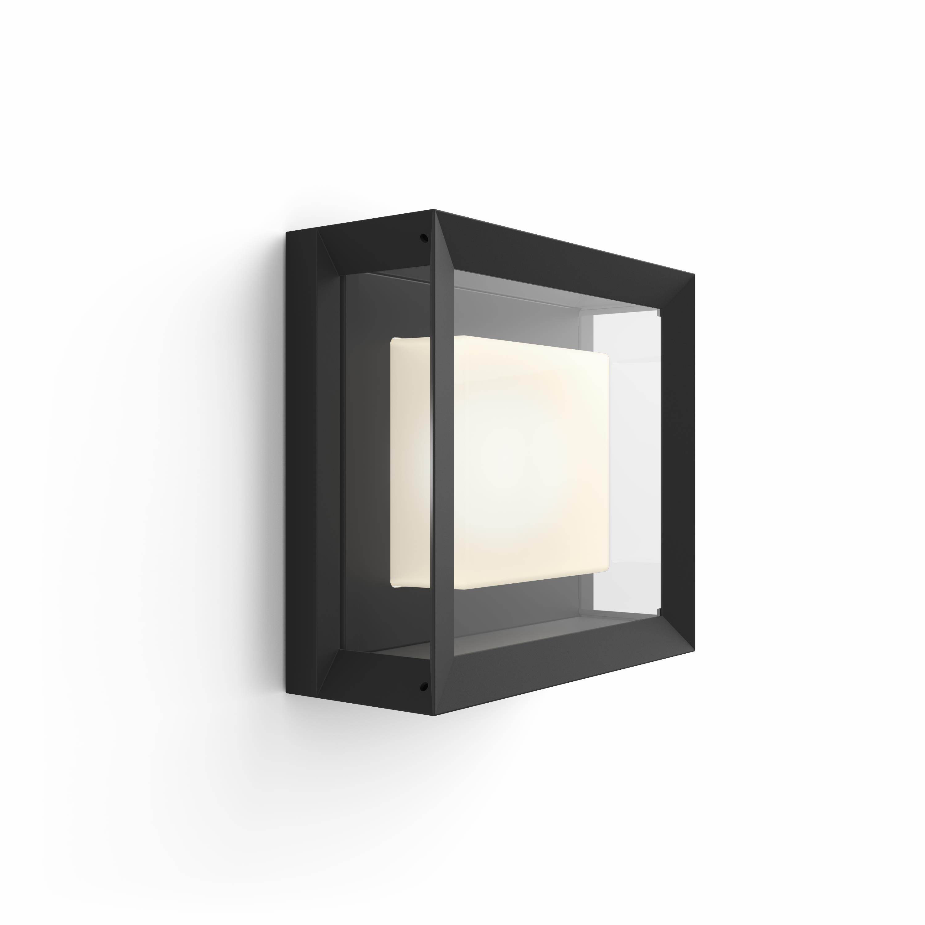 Philips Hue - Econic Square Wall Lantern Schwarz - Weiß & Farbe Ambiance