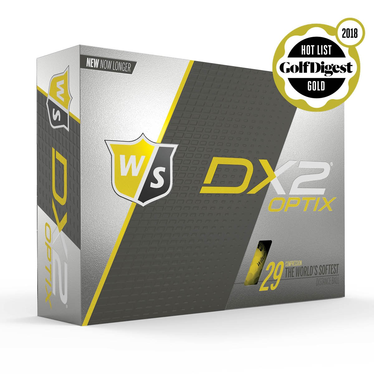 WILSON STAFF - DX2 SOFT OPTIX YELLOW GOLF BALLS - 12 PACK