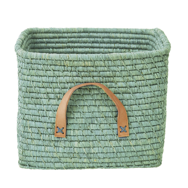 Rice - Small Square Raffia Basket with Leather Handles - Mint