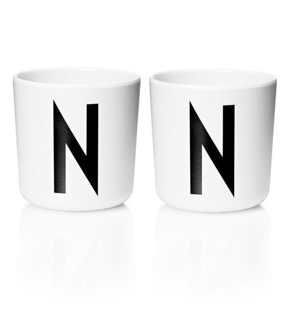 Design Letters - Personal Melamine Cup N - 2 pcs - White