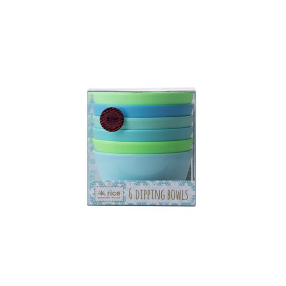 Rice - Melamine Dipping Bowls 6 pcs - Blue/Green