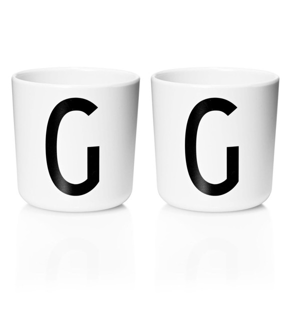 Design Letters - Personal Melamine Cup G - 2 pcs - White