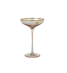 Rice - Champagne Coupe Glass w. Soft Pink and Gold Details