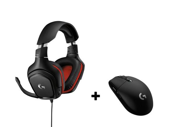 Logitech G332 Gaming Headset + Logitech - G305 Wireless Gamer Mouse Black