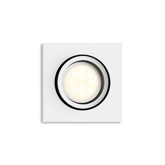 zz Philips Hue - Milliskin Recessed Square Spot Light Remote Not Included- White Ambiance