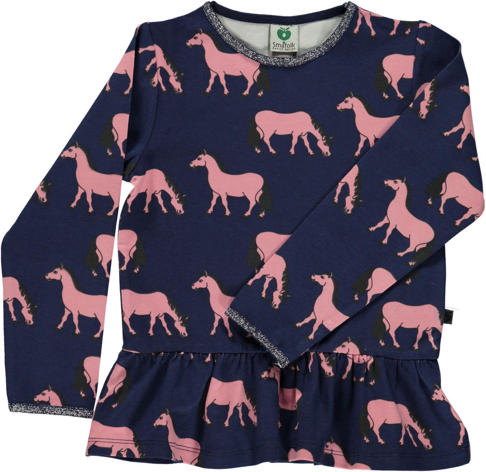 Småfolk - T-shirt w. Horse Print - Medieval Blue