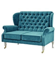Rice - 2 Seater Velvet Sofa - Petrol w. Grey Legs