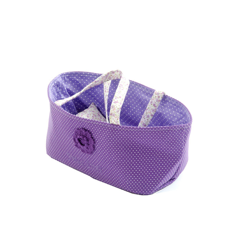 Smallstuff - Small Doll Basket with pillow and duvet - Purple (40029-01)