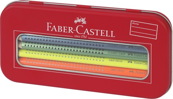 Faber-Castell - Jumbo Grip Tin Box - Neon + Metalic (110940)